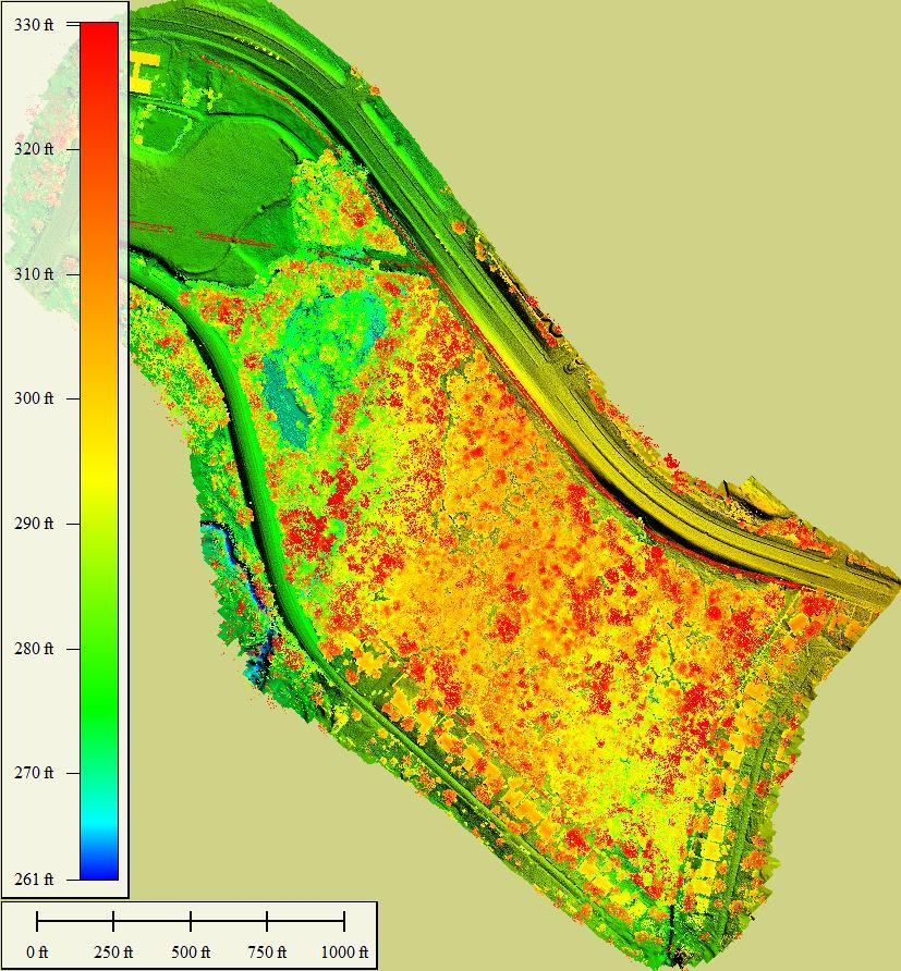 Wheeler Ridge Elevation Map With Trees